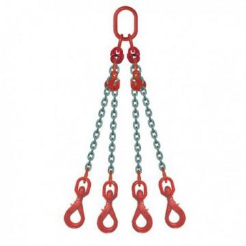 ÉLINGUE CHAÎNE Grade-80 / 4 brins - réglable 4 crochets à touret verrouillage automatique
